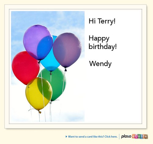 Plaxo Birthday eCard from Wendy