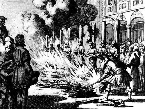 The Burning Times - an engraving by Jan Luyken of women being burned as witches or heretics by rosewithoutathorn84.