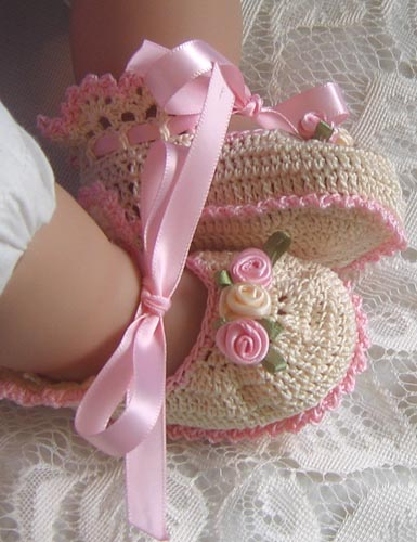 Sugar & Spice Booties - Cream/Pink
