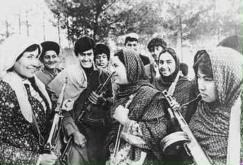 Afghan Womens militia. Women volunteered for militia duty to defend their newly won rights against counterrevolutionaries.