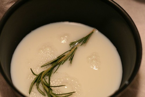The rosemary steeps in the milk