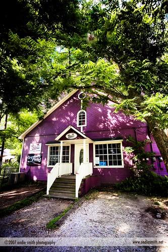 the purple building