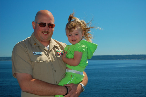 Daddy and Grace on the ferry