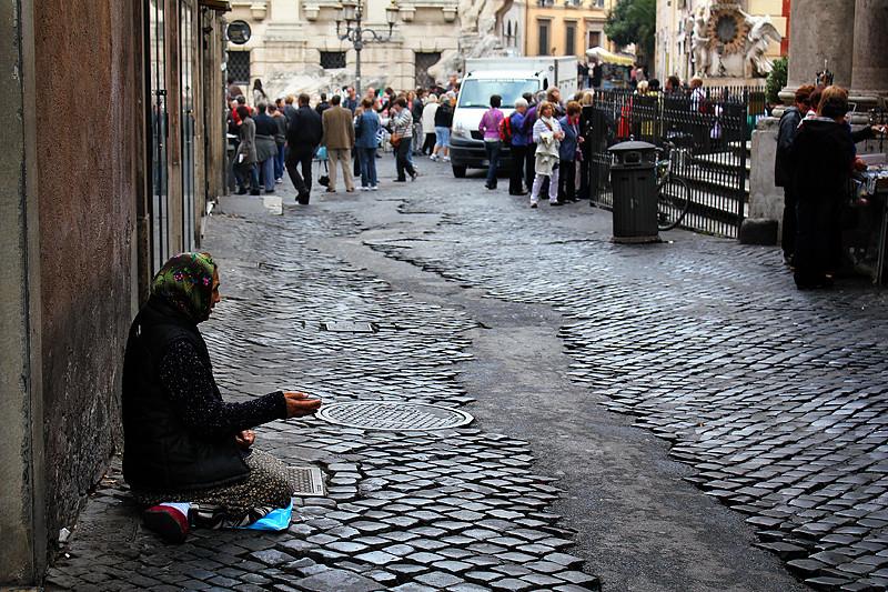 A beggar near Fontana di Trevi