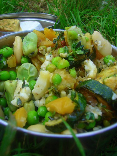 Fresh Broad Bean , Fresh Pea , Butter Bean ,Courgette,  Preserved Lemon & Goats Cheese Salad