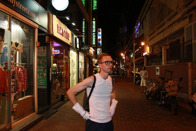 Mr. Muscle on the streets of Daegu