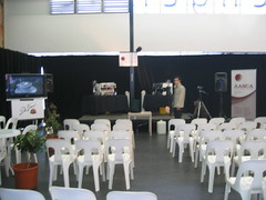 The stage whilst setting up