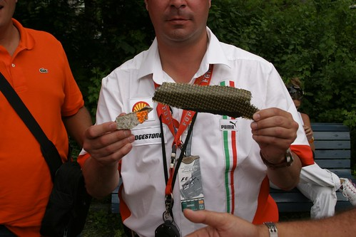 F1 fan leaves with a souvenir piece of F1 car.