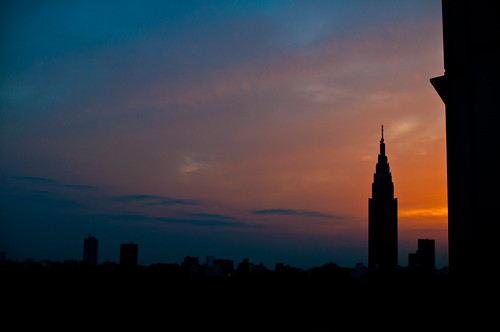 NTT Tower sunset views from Shinjuku Gyoen