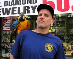Man & parrot on 86th Street