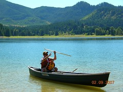 dad & charlie on the canoe