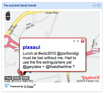 Yahoo pipes map badge