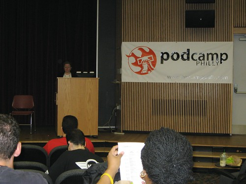 Lead organizer Whitney Hoffman addresses the Podcamp Philly attendees.