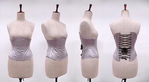 Underbust corset pattern - gray dupion corset