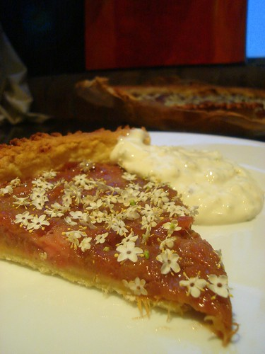 Rhubarb Tart with Elderflower Cream