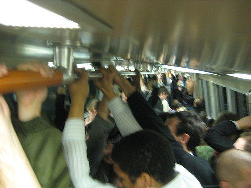 crowded BART train