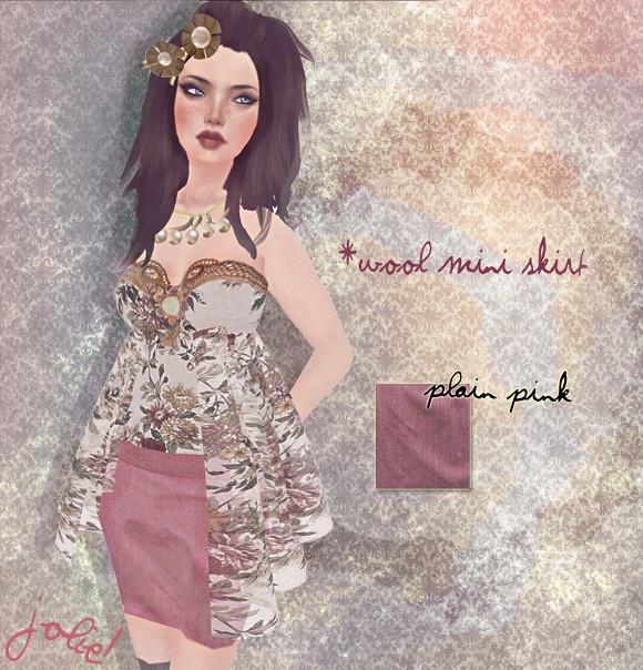 jOLIE! Wool mini skirt plain pink