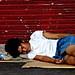 guy sleeping in the street