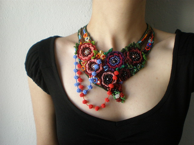 Ranunculus Acris ... Freeform Beaded Crochet Necklace