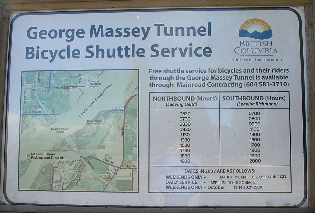 Massey Tunnel Bike Shuttle Service timetable 2007_0904