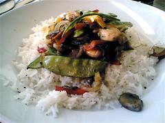 Prawn stirfry with basmati rice