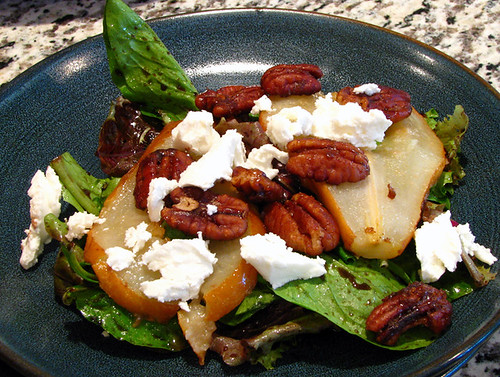 Baby Greens Salad with Caramelized Red Pears, Candied Pecans, & Goat Cheese
