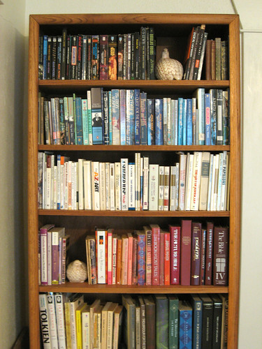 Reorganized bookcase.