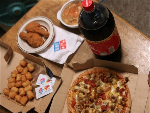 pizza, tots, fried chicken, hot and sour soup, coke