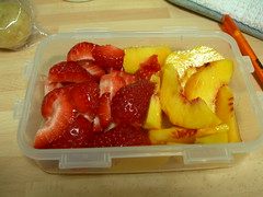strawberries & peach slices