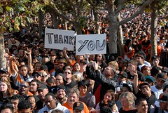Fans &  Giant Thank You Sign