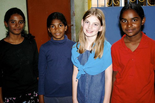 Hayley and girls in Bangalore