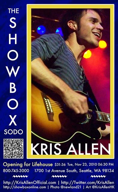 Kris Allen Promo Art - The Showbox Sodo, Seattle, WA