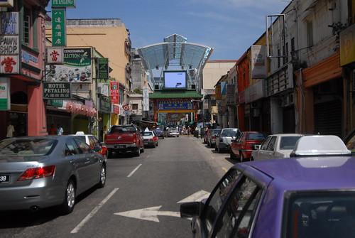Looking at Jalan Petaling in Kuala Lumpur's Chinatown.