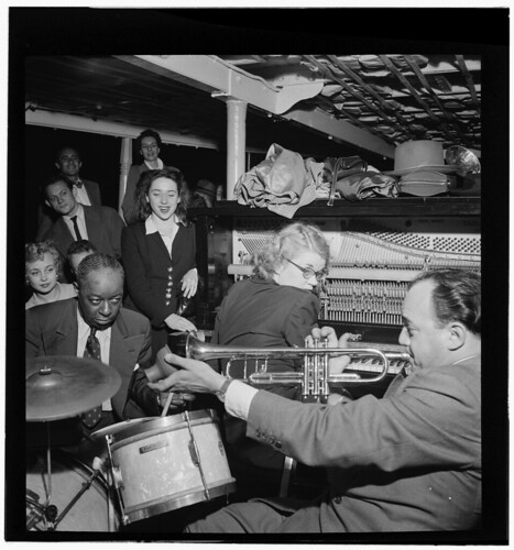 [Portrait of Marty Marsala, Bunty Pendelton, and Baby Dodds, Riverboat on the Hudson, N.Y., ca. July 1947] (LOC)