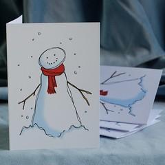 snowman christmas card pack