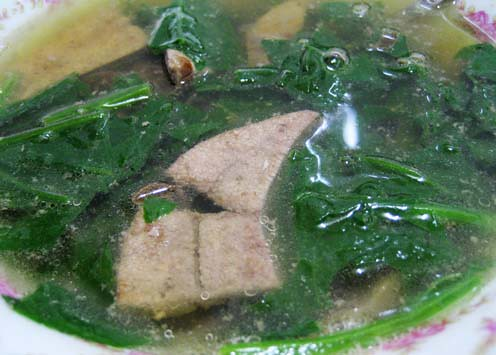 pork liver, spinach soup