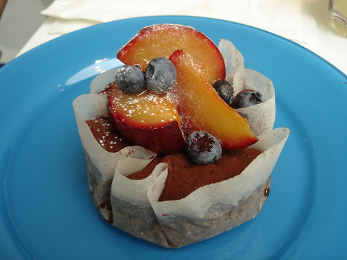 Chocolate Clafouti with Peaches and Blueberries