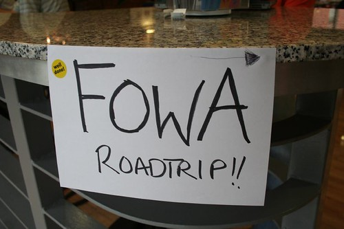 Hand-written sign saying 'FOWA Road Trip'
