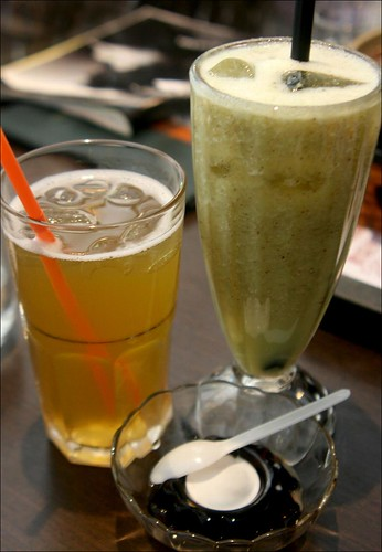 kiwi smoothie, green tea, coffee jelly