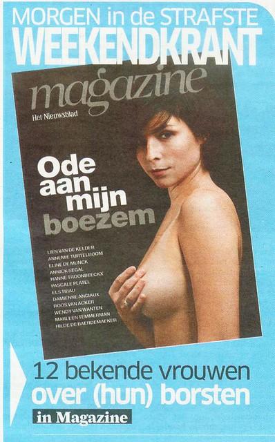 Lien van de Kelder topless voor Het Nieuwsblad magazine