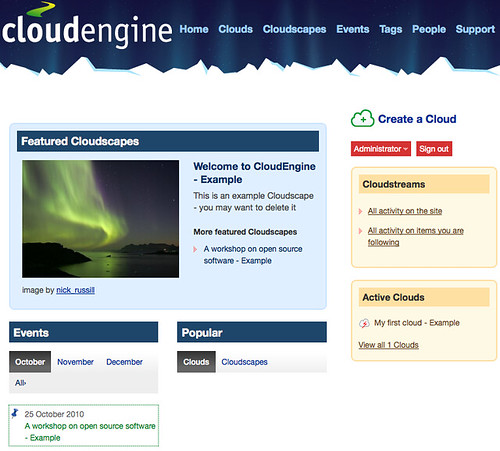 CloudEngine installation - home page. View on Flickr.