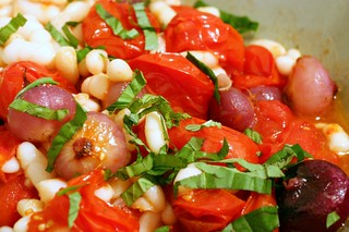 roasted tomatoes with white beans