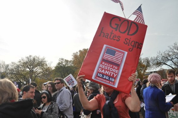 Rally for Sanity Oct 2010 God Hates Signs