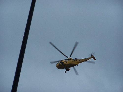 One of the rescue helicopters