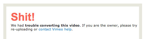 Vimeo Error Message