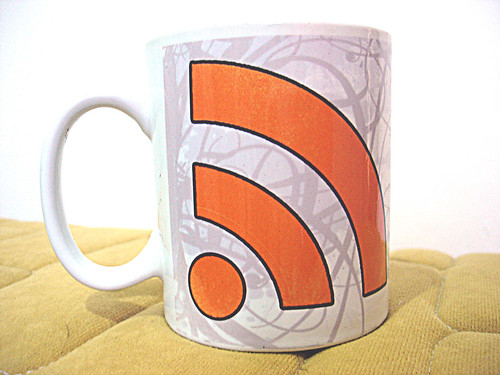 Photo of a mug with the RSS symbol on it