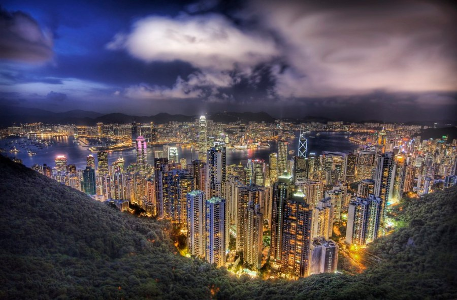 Hong Kong from the peak on a summer's night