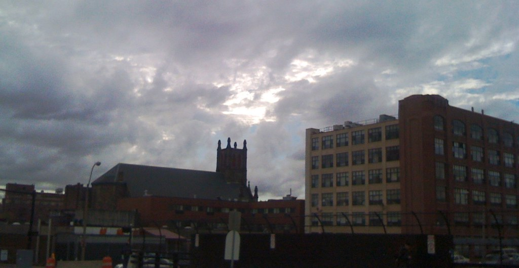 Boston, under a brooding sky