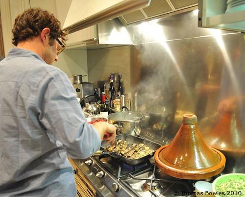 Grilling camel kebabs
