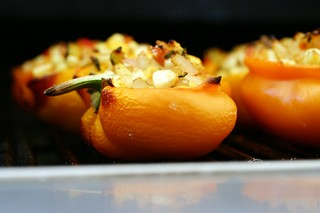smoke-roasting the stuffed peppers
